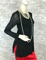 Akris New Black Silk Stretch Knit Blouse Dress Top 4 US 40 IT S Runway Auth