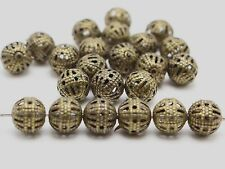 200 Bronze Metal Round Filigree Spacer Beads 6mm Jewelry Findings