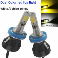 2x H11 Car LED Fog Light Driving DRL Bulb White Yellow Dual Color 6000K+3000K