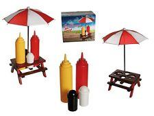 Menage Gewürzständer Picknicktisch und Schirm für Ketchup, Senf, Salz, Pfeffer