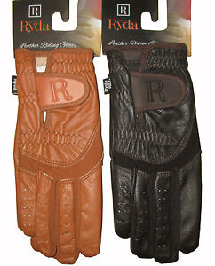 RYDA Ladies Tan or Brown Leather Palm Competition Dressage Gloves Horse Riding