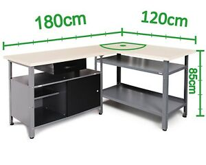Ondis24 Werkstatt-Set Ecklösung Sparfuchs 2x Werkbank aus Metall 180 x 120 cm