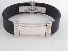 New Tiffany & Co Silver Picasso ID Black Rubber Surfer Bracelet Bangle Box