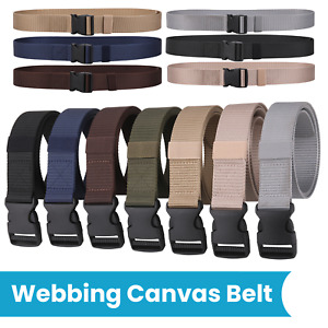 Tactical Canvas Webbing Belt Military Style Quick Release Buckle for Trouser