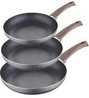 Bergner Non Stick Granite Wooden Handles Induction Frying Pans Set of 3