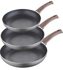 Bergner Non Stick Granite Wooden Handles Induction Frying Pans Set of 3