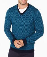Tasso Elba Mens Sweater Peacock Blue Size 2XL V-Neck Herringbone Wool $75 164