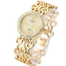 Luxury Women 's Ladies Crystal Watch Gold Bracelet Stainless Steel Wrist Watches