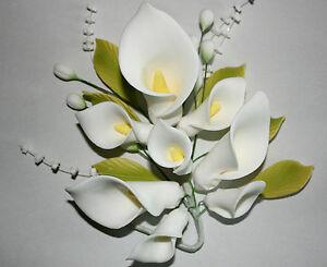 CALLA LILY SPRAY Sugar Flower, Medium, Cake Topper, Sugarcraft, Wedding Cake.