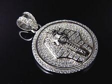 """Simulated Diamond Egyptian Pharoah Medallion Pendant In White Gold Finish 1.5"""""""
