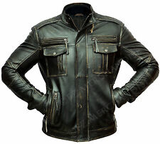 Mens Vintage Biker Style Motorcycle Racer Distressed Leather Jacket