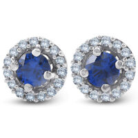 1/4 Ct Halo Diamond & Blue Sapphire Studs 10K White Gold