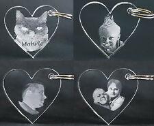 Herz Schlüsselanhänger aus Acryl mit Wunsch Gravur Foto Logo Bild Motiv Portrait