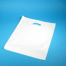 500 Grifflochtragetaschen Einkaufstüten Plastiktüten weiß MDPE stark 38+5x45cm