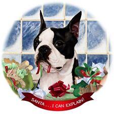 Boston Terrier Dog Porcelain Hanging Ornament Pet Gift Santa I Can Explain