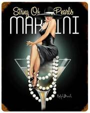 Pin Up Girl String of Pearls Martini Vintage Metal Sign Pub Lounge ManCave RB135