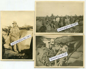 3 Fotos: WH-Geschütz-Stellung des Afrikakorps in der Wüste in Afrika im 2.WK