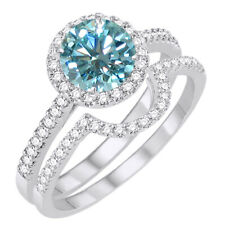 Set Engagement Ring in Sterling Silver 5.25 ct Light Blue Moissanite Halo Bridal