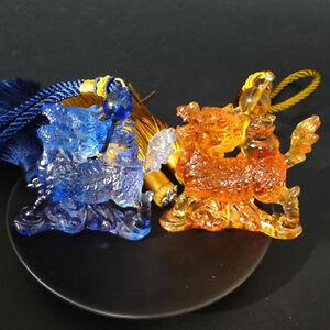 Liuli Crystal Kylin Statue Car Hanging Ornament Feng Shui Talisman Amulet Gift