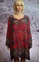 ANGIE L BoHo/Hippie Rayon Lightweight Red/Elephant Paisley Dress Caftan NWOT