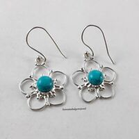 Flower Round Earring Natural Turquoise Silver Earrings New 925 Sterling Jewelry
