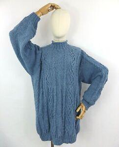 Vintage denim blue cable aran hand knit soft wool blend jumper sweater L 16