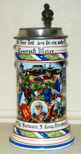 1/2L Porcelain Regimental German Stein with Lithopane