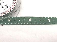 Berisfords R1359215 | Hearts & Kisses Ribbon 20m X 15mm Valentines Green