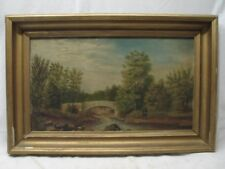 ANTIQUE OIL ON WOOD PAINTING FLY FISHERMAN FISHING RIVER BRIDGE CREEK