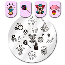Round Nail Art Stamping Plate Juggle Clown Manicure Image Template NICOLE DIARY