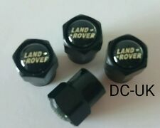 LAND ROVER Black Wheel Tyre Valve Dust Caps for Sport Discovery Freelander