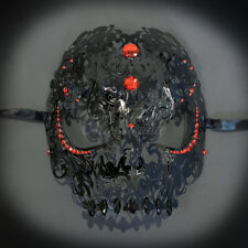 Skull Metal Venetian Masquerade Mask for Men or Women, Black with Red Gems