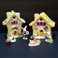 Ceramic Easter Village 7 Piece Set Houses Have Spot For Tea Light Candles