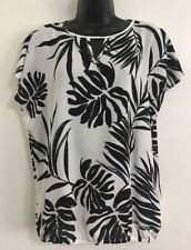 Ex Debenham Black White Leaf Floral Print Everyday Day Blouse Top Size 10-20