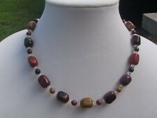 HDMD by Cyndi Beaded Necklace Natural Moukite Jasper Nuggets and Clear Crystal