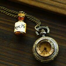 DRINK ME BOTTLE POCKET WATCH NECKLACE ALICE IN WONDERLAND CHARM GIFT IDEA