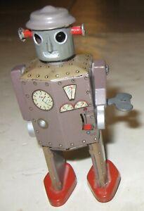 "1950s ORIGINAL EARLY VINTAGE ATOMIC ROBOT MAN ARM WIND-UP 5"" TIN ROBOT NICE"