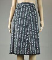 Vintage black Floral Ivy A-line polka dot knee length lace trim Skirt Sz S