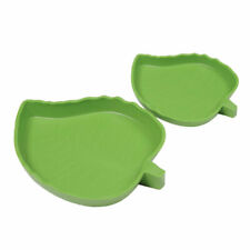 Reptile Water Food Dish Bowl Plastic Gecko Meal Worm Feeder Leaf Shape 2 Sizes