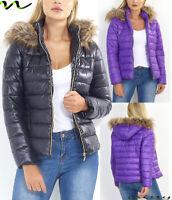 NEW Womens LADIES PARKA JACKET METALLIC BLACK SHINE PUFFER WINTER COAT Size 8-1