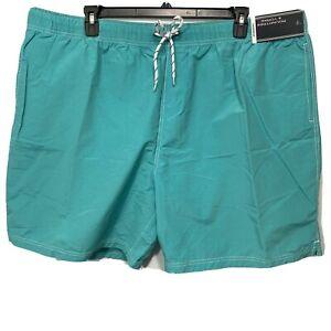 Roundtree & Yorke Men's Swimwear Swim Shorts Trunks 3XB 3XLB Lined Green Aqua