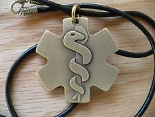 Brass EMS Medical Pendant, Da Vinci's Vitruvian Man and Rod of Asclepius Burning