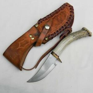 US hand-made Hunter-Skinner knife crown stag handle, orig custom leather sheath