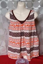 Women's Tank Top Brown Orange Flowers Sleeveless Shirt SUMMER Sz S Small 4/6