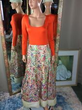VTG Victoria Royal LTD Orange India Inspired Embroidered Sequin Gown Dress