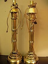 """2 VTG Gold Brass Bamboo Style Table Lamps Wescal Harp 24"""""""