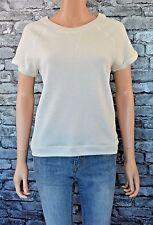 Ivory Soft Knit V Neck Capped Sleeve Sweater Jersey Pullover Jumper Uk Size 18