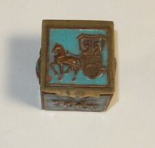 CHINESE CLOISONNE REPOUSSE CHARIOT ENAMEL STAMP JAR BOX