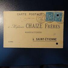 FRANCE SAGE N°75 x2 SUR CARTE LETTRE COVER CAD ANNONAY ARDÈCHE PR ST ETIENNE