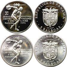 1970 Panama 2 Coin Set 5 Balboas Silver KM# 28 Proof/Uncirculated